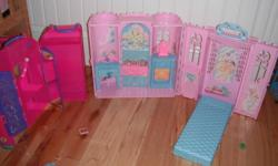 Barbie swan lake castle with tons of hidden compartments folds for easy storage. Barbie storage luggage.  Barbie dress up storage. Asking 25