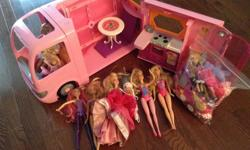 Or best offer. Barbie Pink Glamour Camper with furniture and accessories 6 Barbie dolls + extra clothes + shoes/accessories Barbie singing microphone