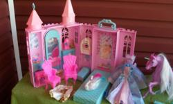 BARBIE SWAN LAKE CASTLE  AND CARRIAGE WITH UNICORN AND BARBIE OF SWAN LAKE AND PRINCE DANIEL   EXTRA ACCESSORIES WITH THIS PLAYSET AND EXTRA OUTFITS FOR BARBIE AND KEN. SWAN LAKE CARRIAGE INCLUDES THE UNICORN. NOT FOR CHILDREN UNDER 3 GOOD CONDITION   $35