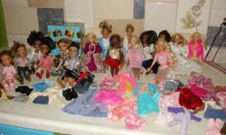 10 barbies (including one male) and 6 bratz (including 1 male), all with clothes and some extra outfits.  Take them all for $40.00 or make me an offer!