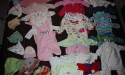 Many Barely used size NB-6 months. No stains. Buy for $2.00 each or I will make a deal if you take them all. Come look through them. Onsies, Jammies, Snow suit, hats, swimming trunks, Mexx brand too. More than just those pictured.No pets, no smoking,