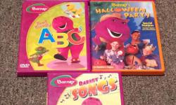 Barney DVD's. 5 in total Barney Songs Now I know my ABC's Halloween party Sing and dance Let's go to the zoo.