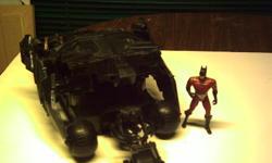 batman car with batman on bike and 1 batman figure $20.00 as is no-holds