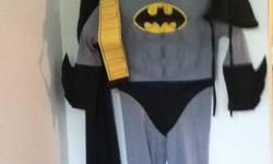 Batman Delux Costume - padded chest, gloves that make sound fx, mask padded, cape, flashlight, belt and a batman throwing symbol Serious inquiries leave number & I?ll call you ASAP.