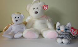 Beanie Buddy Halo Bear with ear tag attached is in mint condition and could be used as a gift! Beanie Baby Halo 2 Bear missing ear tag but otherwise is in great condition. Retired Beanie Baby Cat Prance with ear tag and is in mint condition as well. Must
