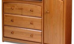 """Combines ample storage space with a convenient changing table design. Mission style dresser made of solid wood & wood products & non-toxic finish. All drawers come with steel drawer glides with safety stops & wood pulls. Measures 48""""L x 18""""W x 37.25"""" H."""