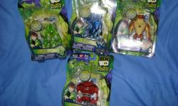 GREAT CHRISTMAS PRESENT for the Ben 10 enthusiast!!!  FOUR Ben 10 Alien Force Alien Collection figurines each with mini figurine that can be used with the Ultimate Omnitrix (Ben 10 Watch on which you can mount the mini figurines, lights up with different