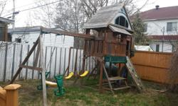 The Big Back Yard Play House is from ToysRus and its price is $1800 plus tax. The Wooden Play Set is an exciting two story play environment that delivers fun right in your own backyard. Your children can explore the exciting Upper Clubhouse covered by a