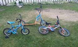 I have three bikes and one scooter for sale. $10 each for the small bikes and scooter. $40 for the larger bike, new 2 years ago, driven 2-3 times. Please call after 6PM as I cannot always answer my phone at work.