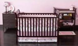 Crib Set only used for 1 child. Identical to picture but in BLACK. Crib alone is $200. Crib comes with a mattress. Instructions included, all the pieces to the crib are included for converting the bed to a toddler bed (toddler pieces never used) Small
