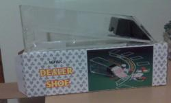Includes blackjack shoe with 7 decks of cards and 160 ceramic chips