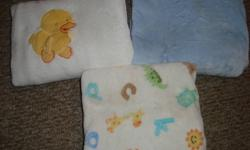 3 nice warm fuzzy blankys - 5$ each   one fitted crib sheet and 2 receving blankets - 5$ for all                          OR 15$ for all blankets in both photos   from a smoke free home   excellent used condition   check out my other ad's