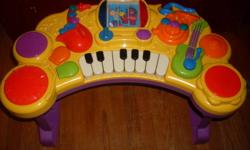 Multi-fuction piano toy...Makes different variety of drum noices, offers the full C-scale in piano keys, as well as other brass instrument sounds!  When the key is turn the story book pages, it plays several little different tunes!  There's even a fun