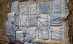 Baby boy crib set includes bumper pads, pillow, blanket, and valance