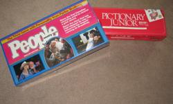 BOARD GAMES - PICTIONARY JUNIOR(USED) & PEOPLE GAME (BRAND NEW STILL IN PACKAGE) PRICE: $15.00 (CASH ONLY)  for BOTH GAMES ORIGINAL COST: (PICTIONARY JUNIOR $29.99 & PEOPLE $39.99) Could be used for a gift.  DUE TO SPAMMING AND NOT SERIOUS BUYERS...PLEASE