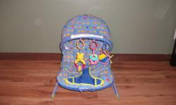 Chair is equiped with vibrating motion, music, safety straps and toy bar. Good condition. Asking $25
