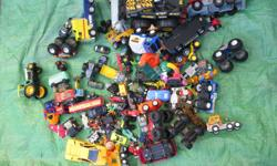 Box of 100 cars and trucks Hot wheels and other makes Big and small