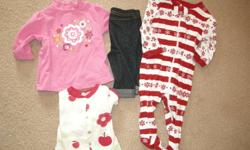 Box of girls clothing. Newborn: 2 Sleepers 0-3 Month: 2 Onesies                   Jean leggings                   Long sleeve shirt                   Outfit (Top and pants) 3 Months: 3 Onesies                 Christmas onesie                 3 Sleepers