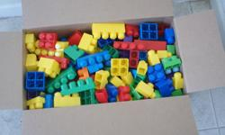 105 various sized Mega blocks bricks See picture Smoke and Pet Free home Has been washed Drop off possible Make an offer please