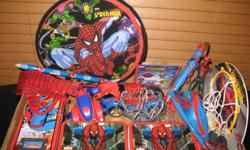 The last odds and ends from my son's Spiderman phase. Spiderman action figures, jumbo pencil, assorted tins, wall hangings, 2 posters, tattoos, plug nightlight, two cars, money pouch, glove etc... Also includes 1 small Spiderman kite (never opened).