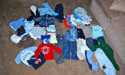 Boy Clothes ~ 6-12 Months Boy clothes in great condition. No-smoking, no-pet household. Lot includes: 16 - pair of pants 3 - jumpers 5 - hoodies/jackets/sweater 10 - shirts 16 - short sleeve onesies 5 - long sleeve onesies 16 - sleepers