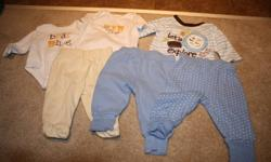 1 diaper shirt (long sleeve) with tshirt and pants (0-3 months) Joe Brand   Light blue button up shirt with matching pants (0-3 months) Joe Brand   2 pairs of pants (0-3) pants Joe Brand   Sesame Beginnings long sleeve shirt (0-3 months)   Sweater &
