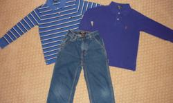 Boy's Ralph Lauren clothing, size 6. Includes carpenter style jeans with snap closure and elastic back waistband and two shirts.  All items in excellent condition;  from a smoke-free home.
