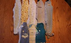 8 pairs of Boys Baby PJ's Excellent Used Condition  No rips, stains, missing buttons or broken zippers!!   Included in this lot are:   1 Set of PJ's - Wardrobe Essentials - Blue with moons and sheep - 6m 1 Set of PJ's - Simply Basic - Yellow with dogs and