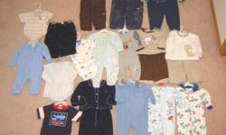 Boys clothes - size 6 months, 6-9 months, 9 months and 6-12 months - $58.  All in very good to like new condition.  Includes some Ralph Lauren, GAP lined overalls, Pekkle and Snugabye convert-a-foot sleepers, Sears baby and Tapioca.  Will also sell items