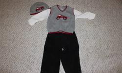 Boys gymboree outfit, perfect for the holidays! Includes shirt, vest, pants and matching hat. The shirt, vest and pants are size 18-24 months and the hat is size 12-18. I find the gymboree hats are a bit big, so I had to get a size smaller to fit my son.