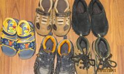 black pair size 6 carthers size 7 hicking boots size 7 sperry oringe size 9 sandles size 8   $20.00 for the all or $5.00 each