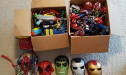 My son is no longer interested in his toys. He's outgrown them and wants to get rid of them. Extremely well taken care of. Too many action figures to count, well over 100 between the two boxes. Vehicles, remote control cars, super hero masks, spiderman