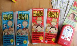 as in the photo, two sets of Brain quest cards - one for the 7-8 year old and one for the 8 -9 year old. Also included in the pile is a set of also questions for the 7-8 year old, but on an automated device (needs batteries) but when you select what you