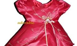 Visit www.adorable-kids.com We ship Globally. Online orders arrive within 1-2 days or come and visit our store.   Tel: 905-434-8881   Get 10% off  your order use coupon code:  KJTEN     satin dress with rhinestones comes in burgundy, white, pink and