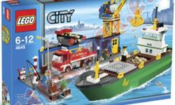 BRAND NEW IN SEALED CASES Lego LARGE size building sets Dont miss out for these sets at 1/2 price of store cost!   Lego #4645 Ciy Harbor Ocean loading dock scene 551 pieces ages 6-12 years comes with 4 figures (fisherman,dock worker,crane operator,chief