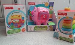 3 brand new toys appropriate for kids 6 months and up. Still in the boxes! $25 for all three.