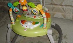 Bouncy jumperoo is fun for baby in a portable, space-saving design that folds flat. Baby's favorite Fisher-Price Woodland Friends are ready to play on the soft-sided activity toy arch-with even more hands-on fun right at baby's fingertips. There's a