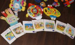 Unisex Baby Toys - everything as seen in first pictures about 25 plus items some toys not pictured - I Just added Lamaze toy. Included but not limited to: - Car seat stroller toy bar - Elmo / Cookie Monster from Sesame Street interactive toy - Elmo /