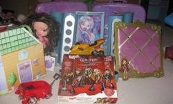 I have a lot of bratz things as you can see e-mail me on what you like i have ... bratz sing stage bratz rock angle bored game ( never played with ) bratz rock angel sun glasses holder bratz bike bratz small house two bratz suit cases bratz pin bored