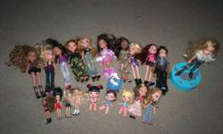 Hi, I have 20 bratz for sale. I have 10 normal bratz, two kids, three babies, four mini, and one talking one. They come with a bunch of extra clothes and shoes and other accessories. On the talking one, the leg broke off the boot, but it's glued now, and