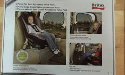Brand new in box! The Britax 3-Piece Car Seat Accessory Value Pack Features: Vehicle Seat Protector EZ-Cling Window Shade with 30+UPF Full-size kick mat