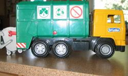 We have a Bruder garbage truck in excellent condition for sale.  Bruder is a German product. All working parts are working. I don't have the box that it came in.  My boys just outgrew it.
