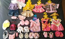 Make a little girl's dream come true! With this super cute Build-A-Bear collection of clothes, shoes, accessories, etc all in pristine condition (not a mark or tear on anything). The wardrobe is also like new! A range of outfits from Disney Princesses to