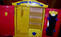 Build A Bear Beararmoire Fashion Cupboard, for storing all clothing and accessories for your Build-a-Bear, with hanger and hook to hang clothing on, with mirror, shelves and pull-out drawer. in excellent clean condition. $30. ...View Map for Area...