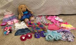 Rabbit Build A Bear and 10 outfits including shoes and accessories. All items are clean and in good shape.