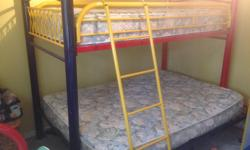 Hello, I have a single bed over a double bunk bed for sale. My son loved the set and now he is a young adult. 68.5 inches height, 86.5 length, and 59 inches width The set also Armoire ,58.5 height,46.5 width,16 depth Desk: 38 Width, 23 depth, 42 height