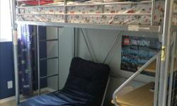 Bunk bed with built in desk and futon