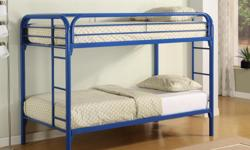All kids love a bunk bed, especially if they're sharing a room with siblings, at a sleep-over or have lots of stuffie toys. The bunk bed features two twin-size beds with a sturdy ladder leading to the coveted top bunk. Modern styling with steel tubing and