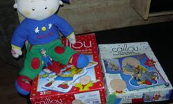 Caillou speaks several phrases in english and french, 2 large puzzles 3 feet, figurine