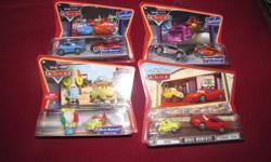 Movie Moments 2 pack of cars - asking $15 for each package obo Sally & Cruisin' McQueen Boost & Snot Rod Guido & Luigi Luigi, Ferrari F430 Movie Doubles (ToysRUs Exclusives) - asking $15 for each package Ramone (red & purple) Lightening McQueen (regular &